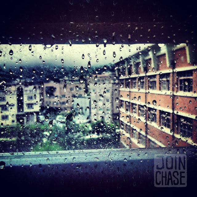 Looking out of a window at Bibong Elementary on a rainy day in Ochang, South Korea.