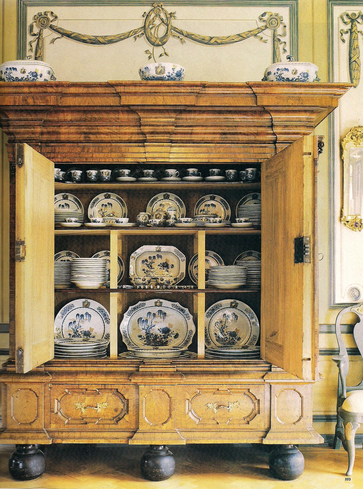 Von Lingon Porcelain Is Displayed In Another Armoire In The Dining Room.