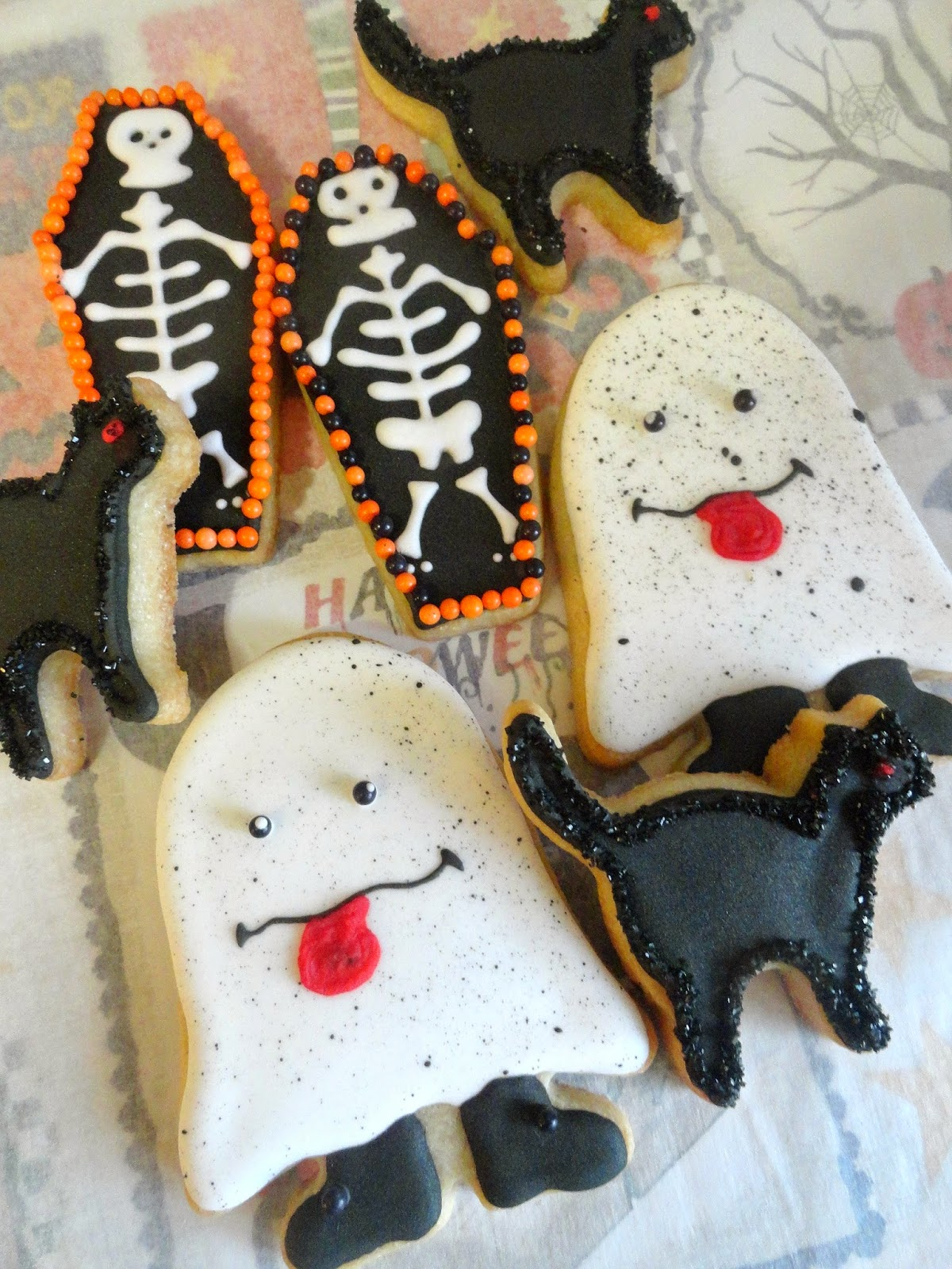Silly Ghost, Black cat and Coffin -Halloween Cookies