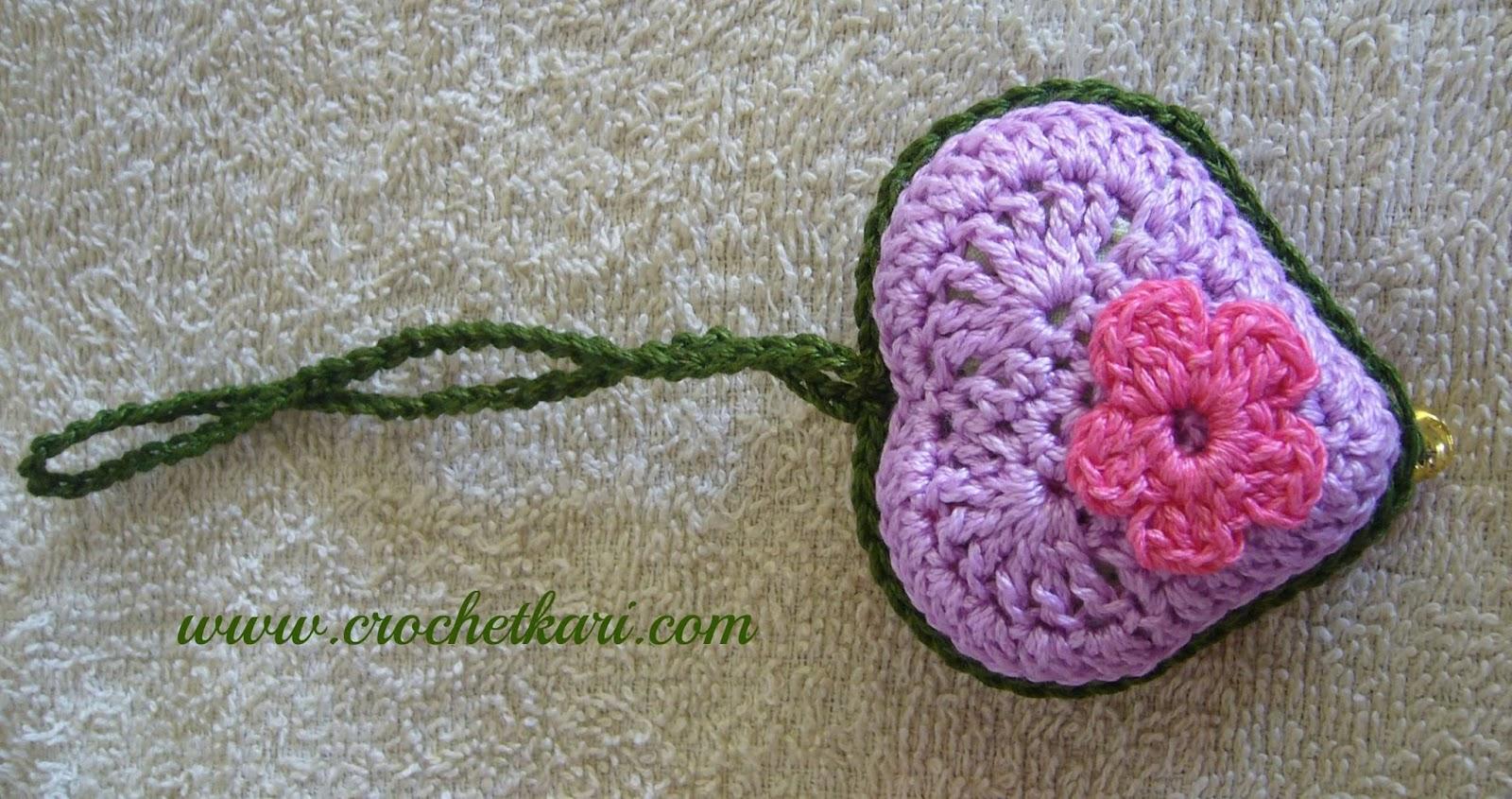 crochetkari heart keychain