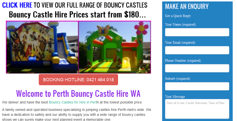 leading bouncy castle hire company in Perth