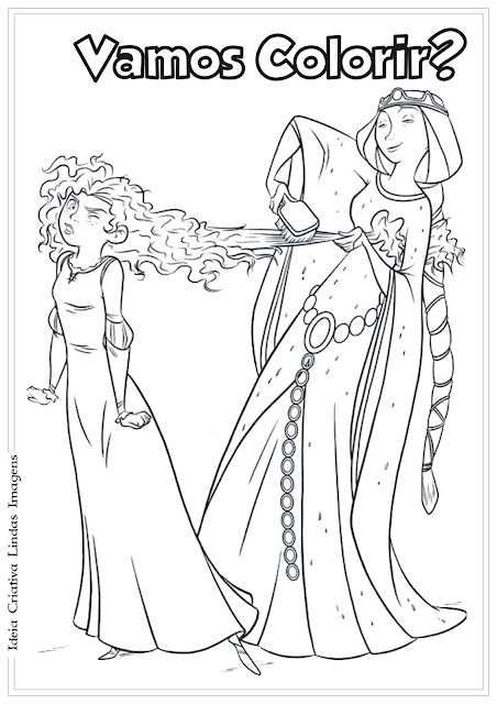 Desenho Valente Merida e Rainha Elinor pra colorir
