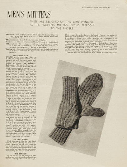 Free 1940's Knitting - Mens Mittens