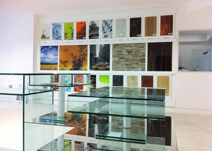 Icon glass splashbacks now on display in our showroom for Interior design kitchen splashbacks