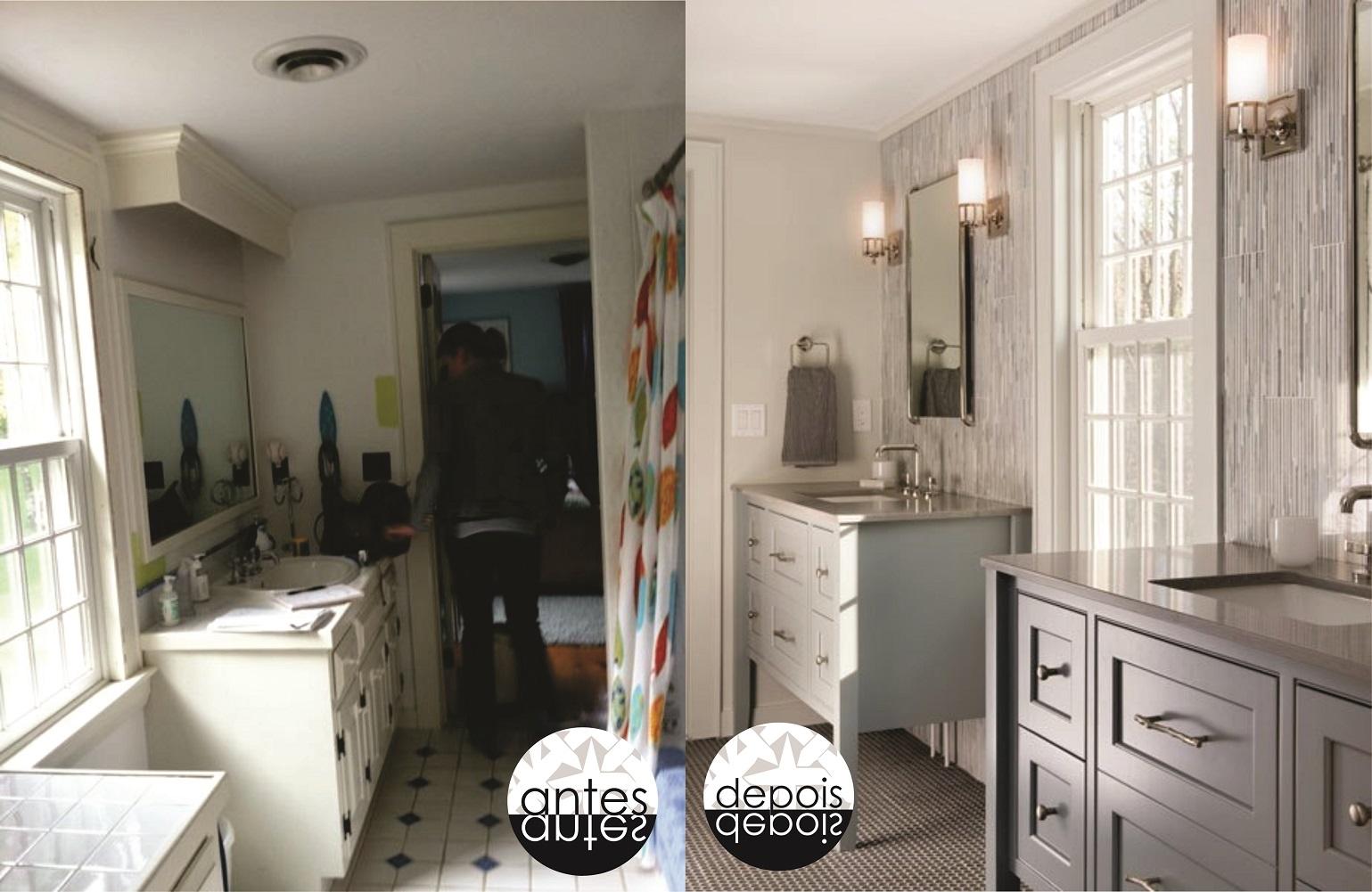 ARK Arquitetura: Antes e Depois Banheiros Americanos #4A5B81 1539 1001