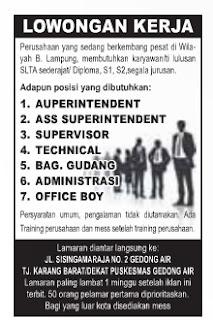 Lowongan Admin, Supervisor, OB, Teknisi Terbaru November 2015