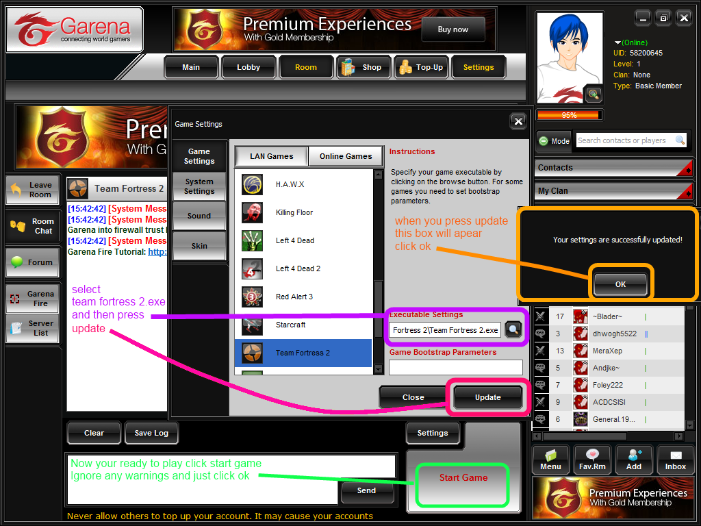 Select the game you want in garena then go to a room e.g, Europe room 1. On