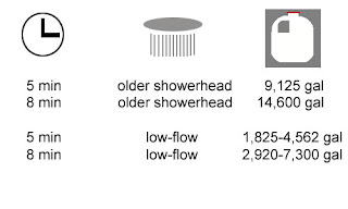 Using a low-flow showerhead and shortening your shower saves water
