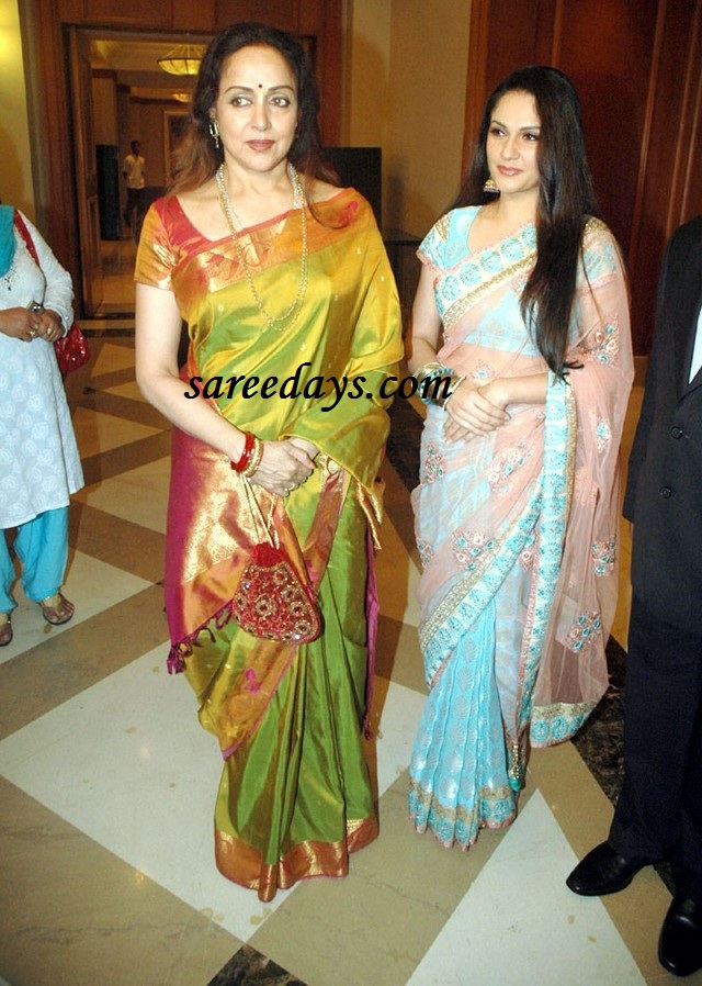 Latest saree designs hema malini in traditional silk saree and hema malini in traditional silk saree and gracy singh in pink designer saree thecheapjerseys Images