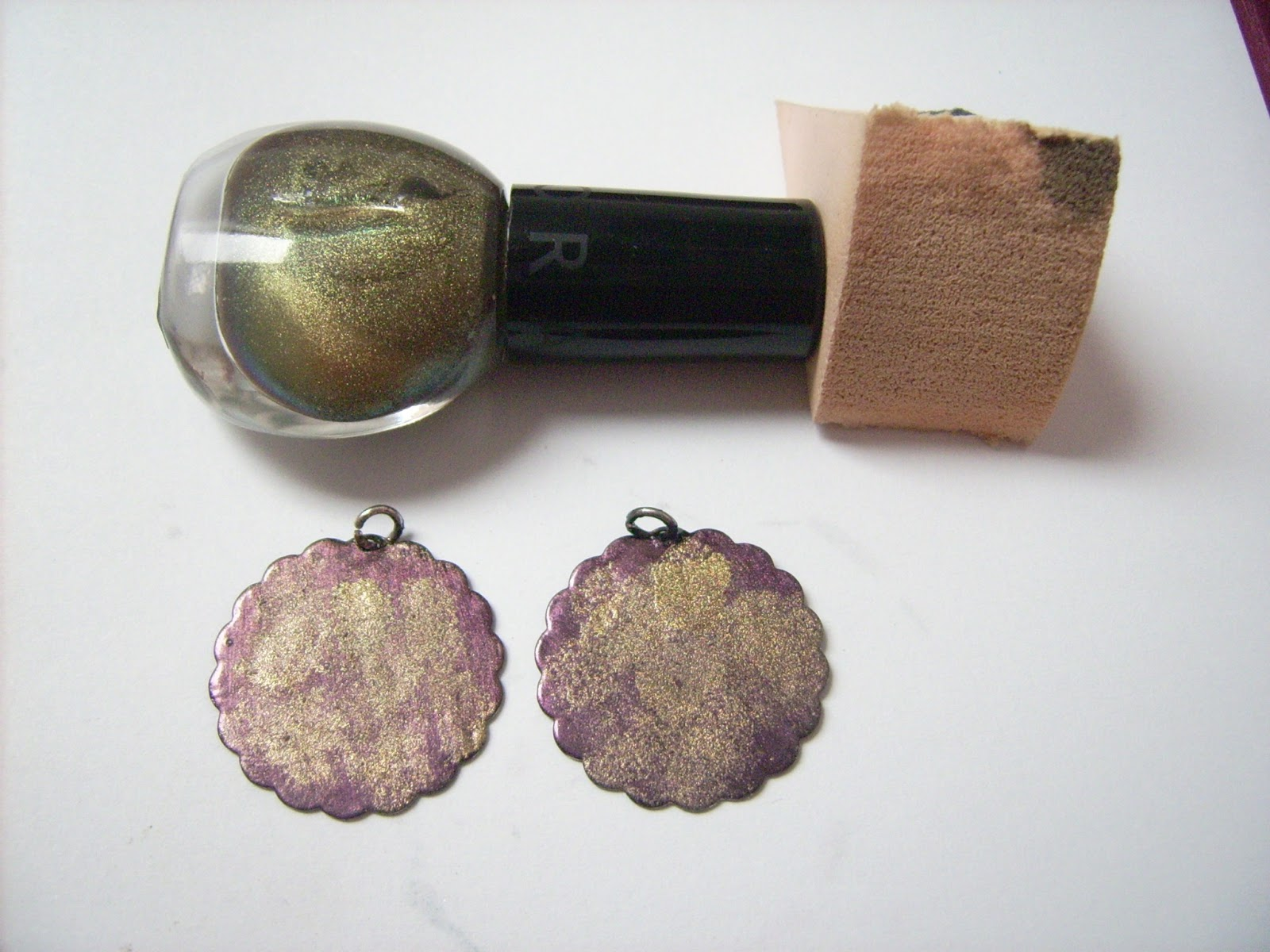 upcycle earrings nail polish
