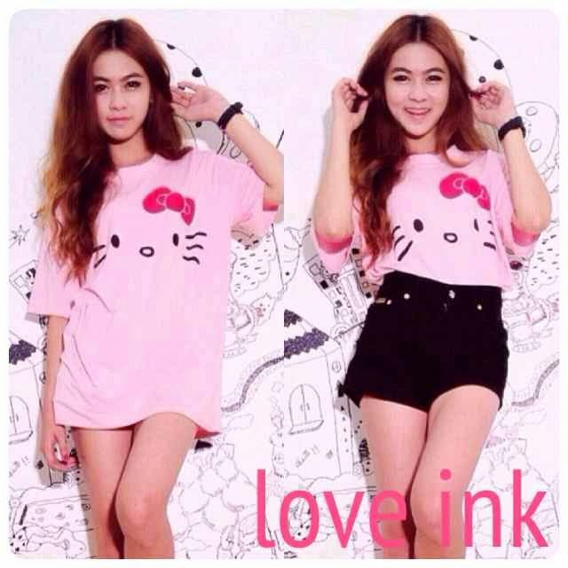 VBT Hello Kitty Pink - Kaos Big Size Love Ink - Harga Saudara