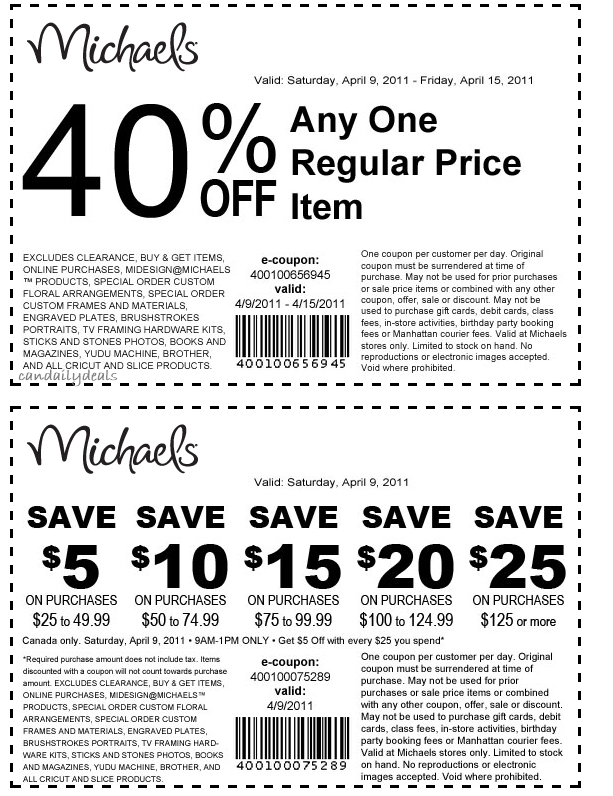 Michaels daily coupon