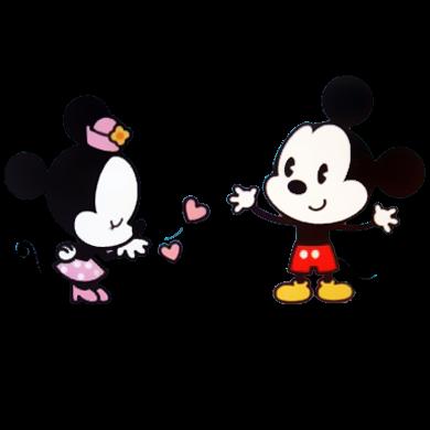 Desenho fofinho colorido Mickey e Minnie com fundo transparente