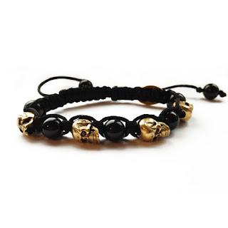 skull bracelet, elisha francis, skull jewelry, handmade jewellery, gold bracelet, onyx bracelet