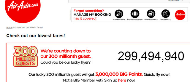Air Asia Flight 300 millionth Guest Discount Offer