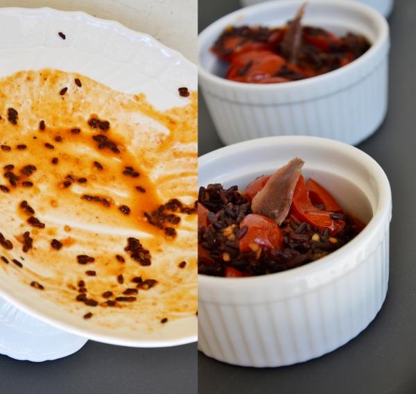 riso venere con pomodorini ciliegino, filetti d'acciughe sotto'olio e peperoncino