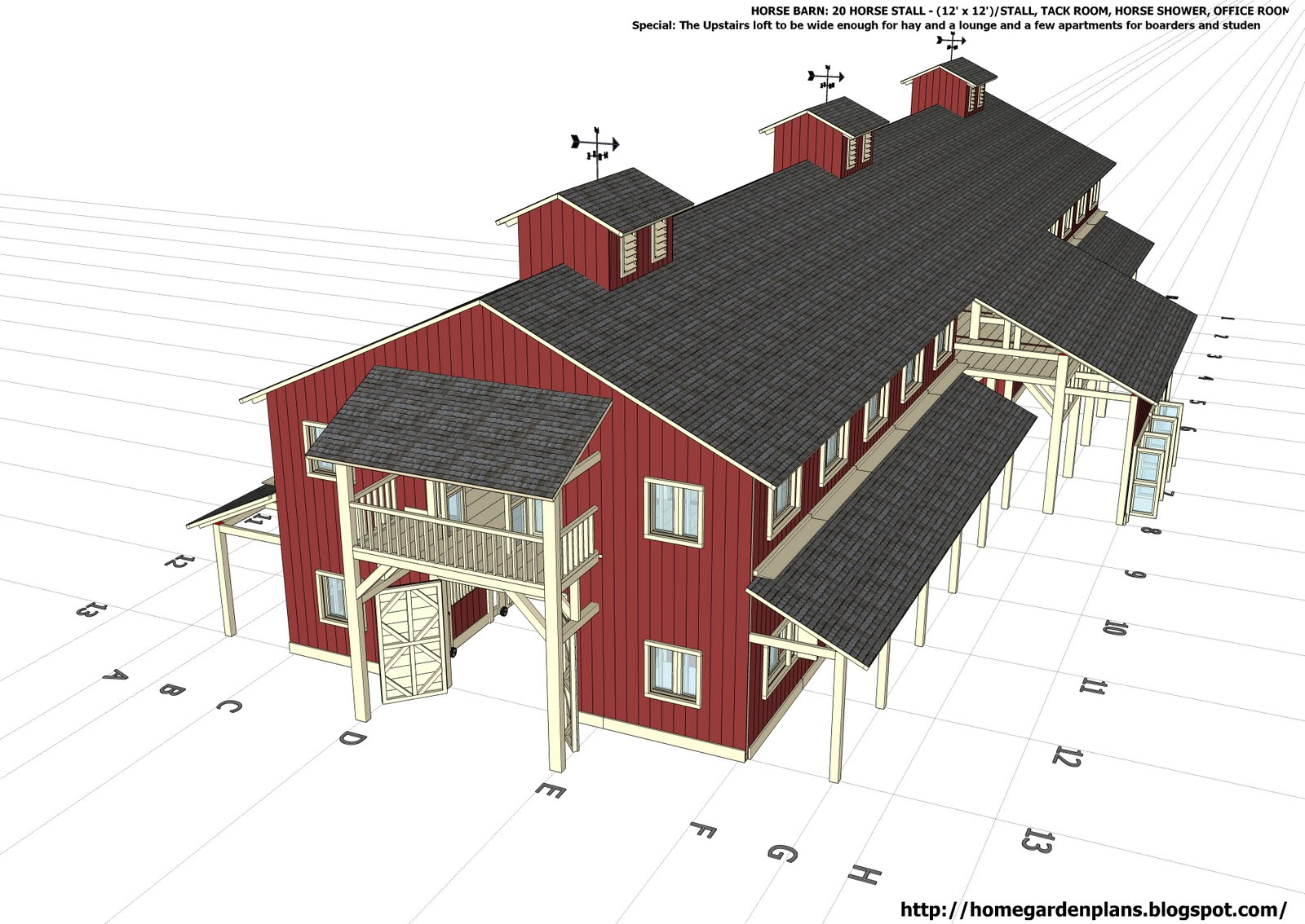 Home garden plans h20b1 20 stall horse barn plans for Barn designs