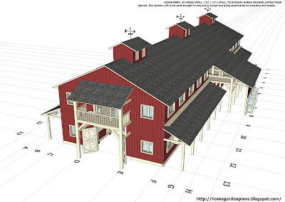 Home garden plans h20b1 20 stall horse barn plans for Six stall horse barn plans