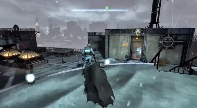 Screenshot of the title character sneaking on a rooftop in the video game Batman: Arkham Origins