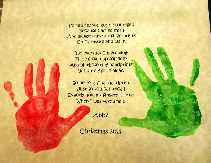 poem printed out and the children add their handprints to each side ...