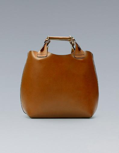 Bolso grande piel marrón Zara otoño/invierno 2012.