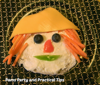 Make a scarecrow face snack out if favorite veggies