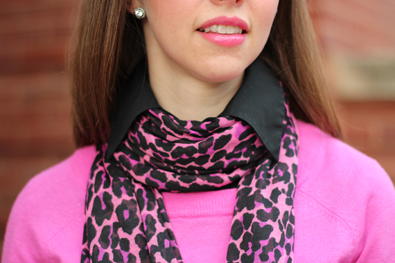 StyleSidebar - hot pink leopard scarf, black blouse, hot pink sweater