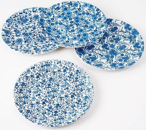 blue and white floral pattern picnic paper melamine plate chinoiserie