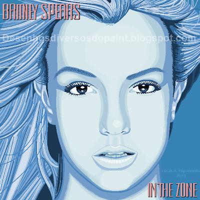 Desenho da capa do álbum In The Zone, da Britney Spears, feito no MS Paint.