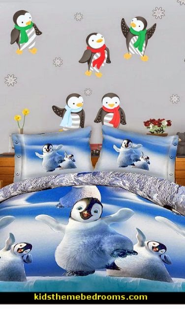Baby Penguin bedding-Winter Penguin Wall Decal Kit - Holiday Wall Decal Kit