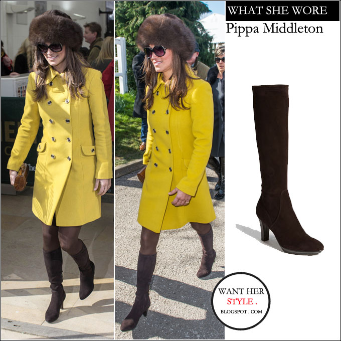 WHAT SHE WORE: Pippa Middleton in yellow coat and brown suede tall ...