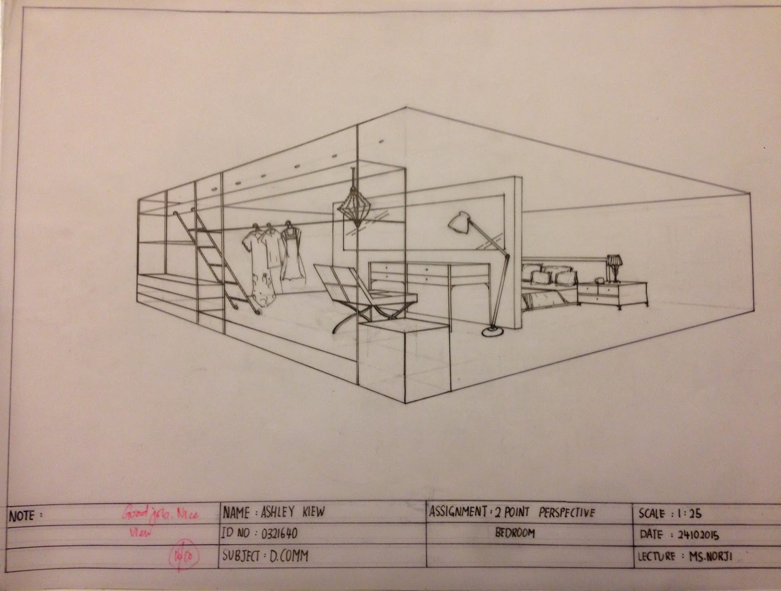 Bedroom drawing perspective - Two Point Perspective Bedroom Interior Architecture Sem 1 Progressive Work