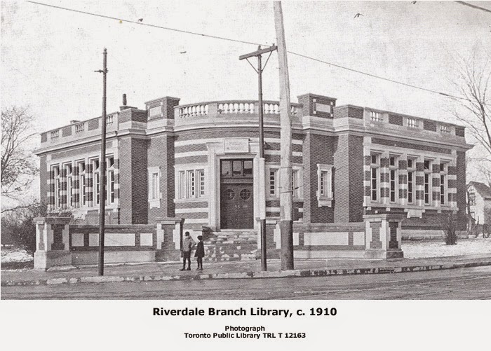 Black and white photo of Riverdale Branch Public Library in Toronto.