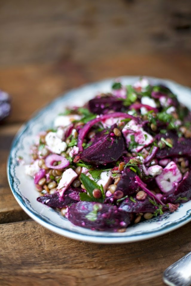 Roasted Beetroot, Feta & Lentil Salad recipe