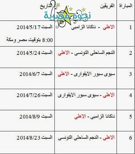 موعد مباريات الاهلى فى دور المجموعات كأس الاتحاد الافريقى 2014