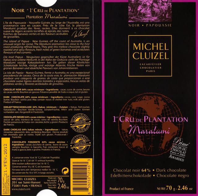 tablette de chocolat noir dégustation michel cluizel noir 1er cru de plantation maralumi
