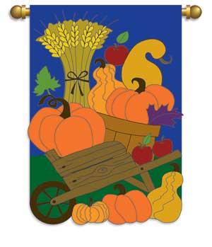 autumn wagon applique garden flag