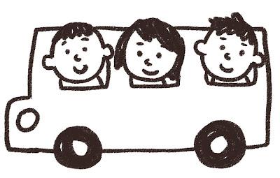 バス旅行・遠足のイラスト 白黒線画