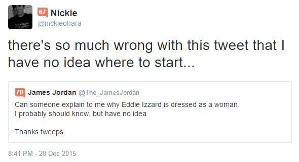 twitter, James Jordan, Eddie Izzard, discussion, transvestite, cross-dressing