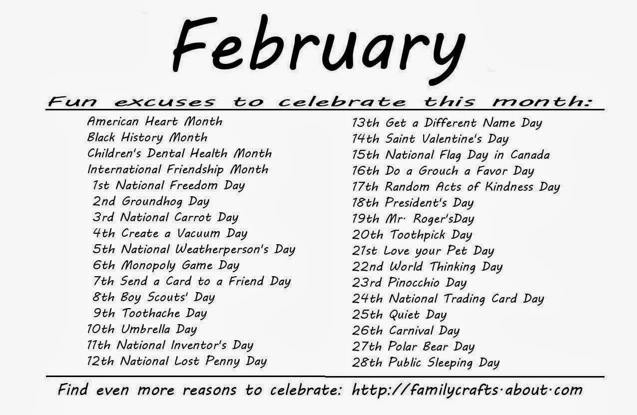 Monthly Calendar Of Events Special Days To Celebrate : Kindergarten and mooneyisms special days february
