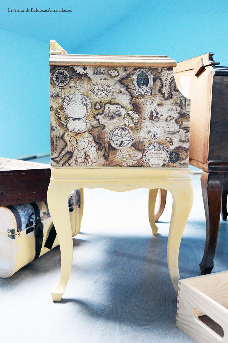 Decorar Una Mesilla Vintage ~ Decorar Muebles Con Papel Pintado