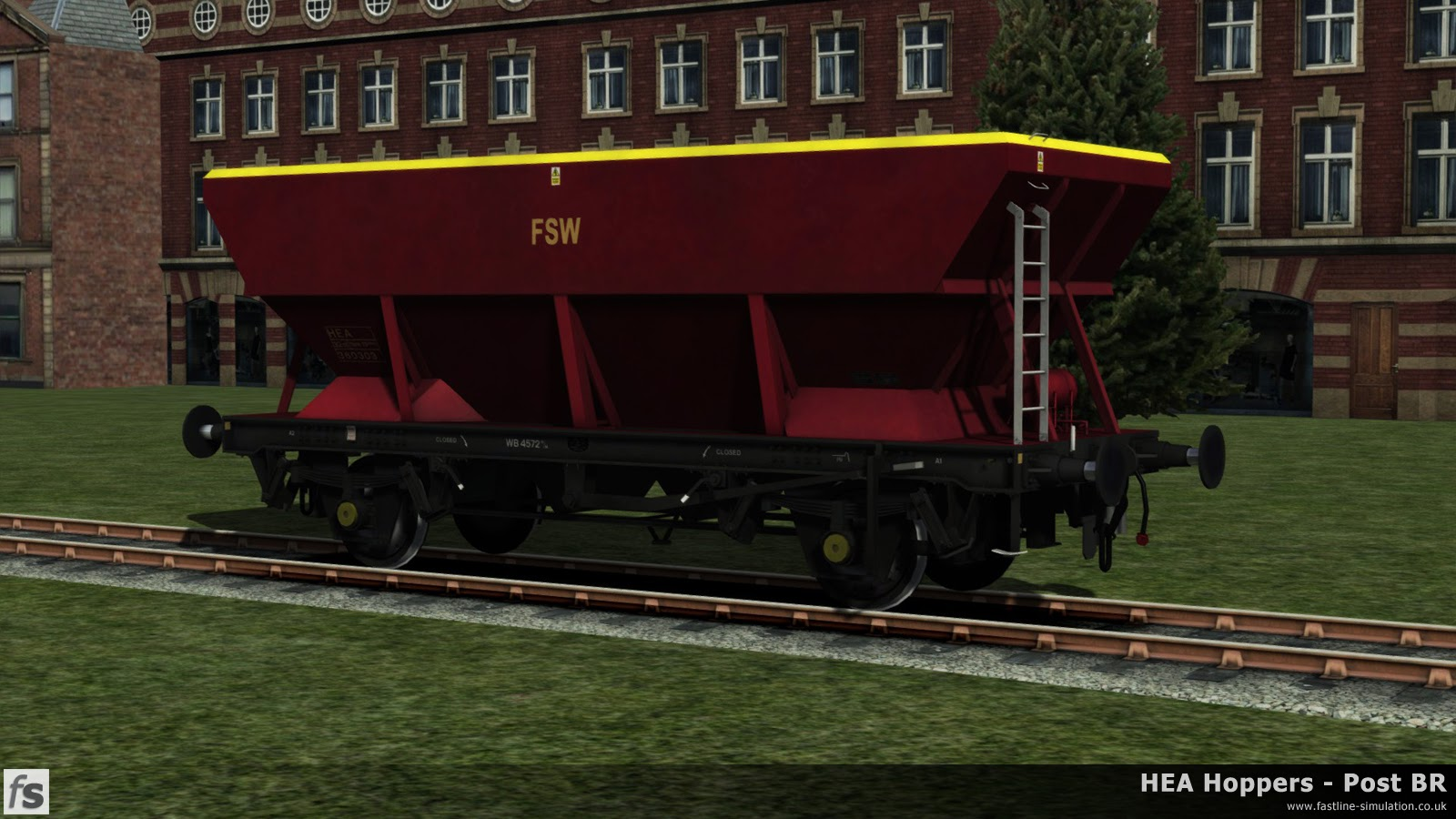 HEA Hoppers - Post BR: One of the later offset ladder HEA hoppers in almost ex-works Red and Gold livery under development for Train Simulator 2014.