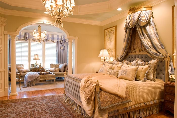 Peonies and orange blossoms bed cornices for Bedroom cornice design