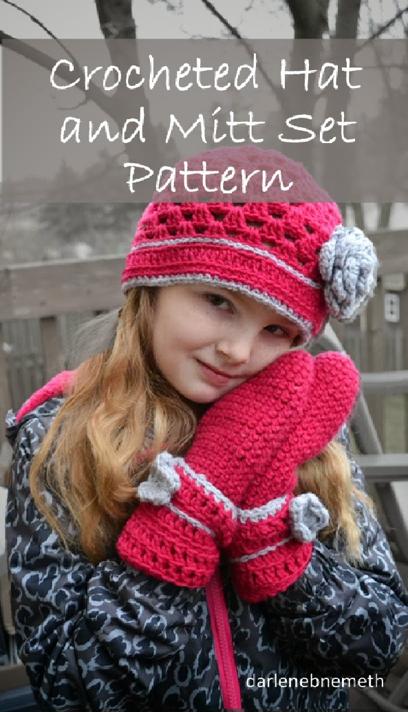 Crocheted Hat and Mitten Set Pattern