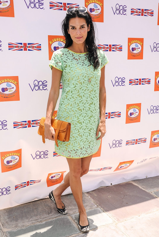 Angie Harmon wearing a mint green lace dress