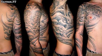 tatuagens o alien preto e branco costas ombro peito