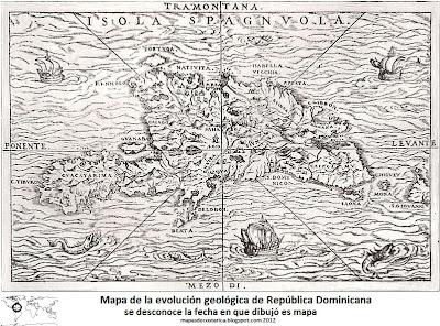 Mapa de la evolucion geologica de la republica Dominicana, fecha desconocida