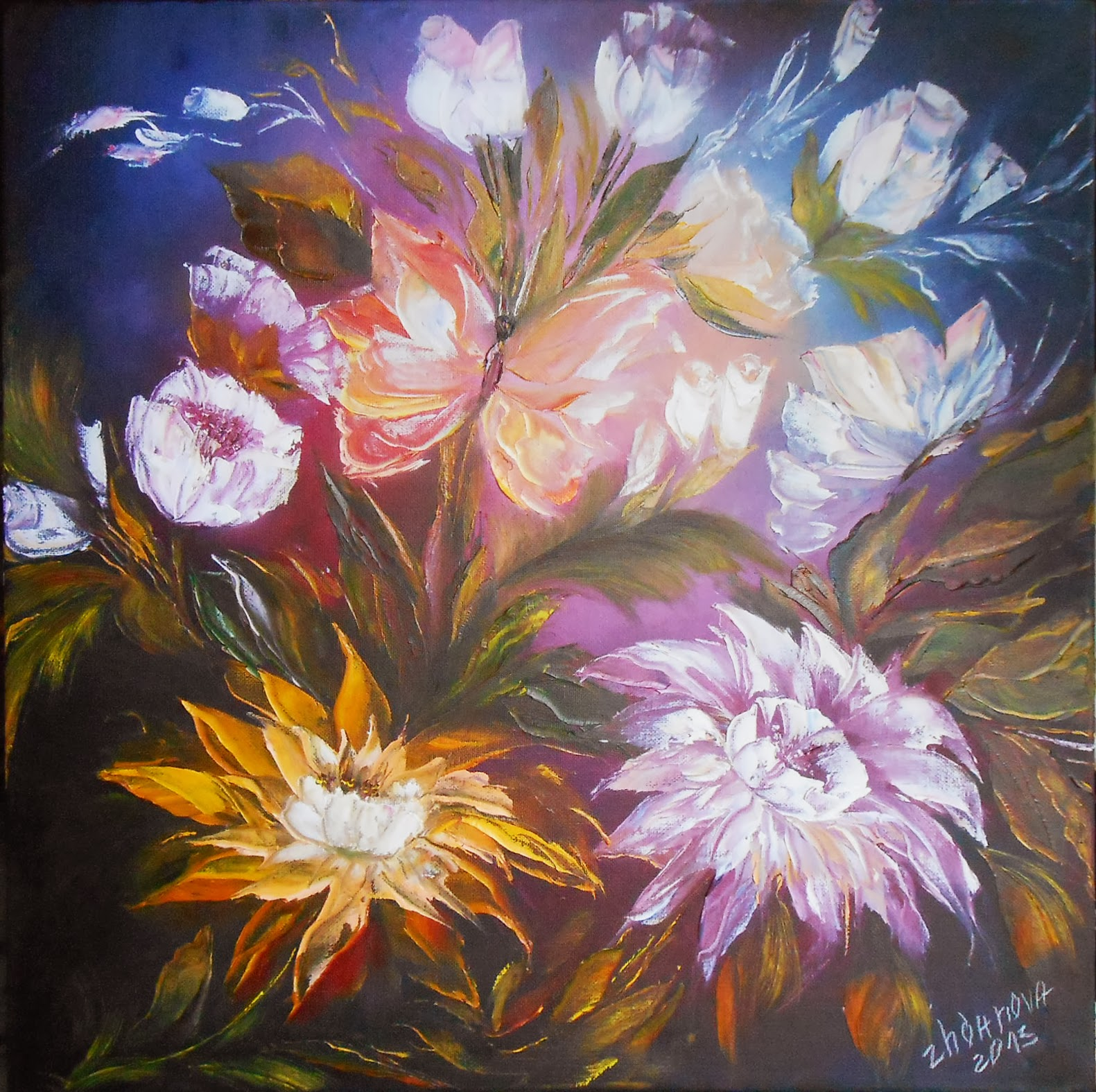 Modern oil russian Painting in style abstract, handmade. Flower oil painting on canvas, a palette knife painting.