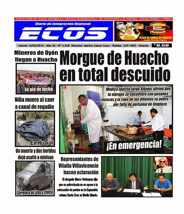Esta es la edición del Diario ECOS jueves 14 de mayo del 2015