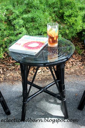 Black wicker side table